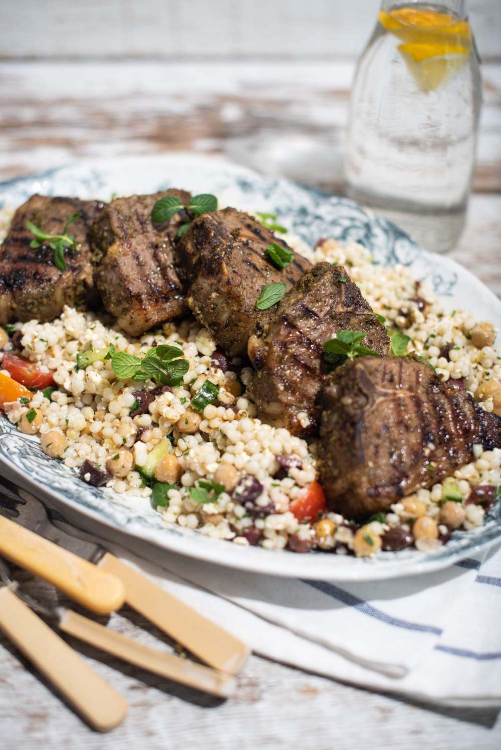 Lamb Chops with Greek Spices and Lemon on Mediterranean Pearl Couscous
